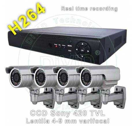 Kit 4 camere supraveghere CCD Sony exterior