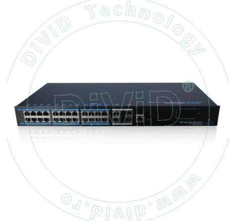 Switch rackabil cu 24 porturi PoE+ si 4 porturi uplink