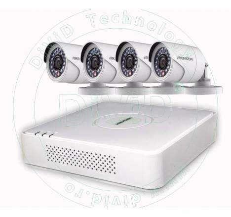 Kit supraveghere video 4 camere exterior Hikvision Turbo HD