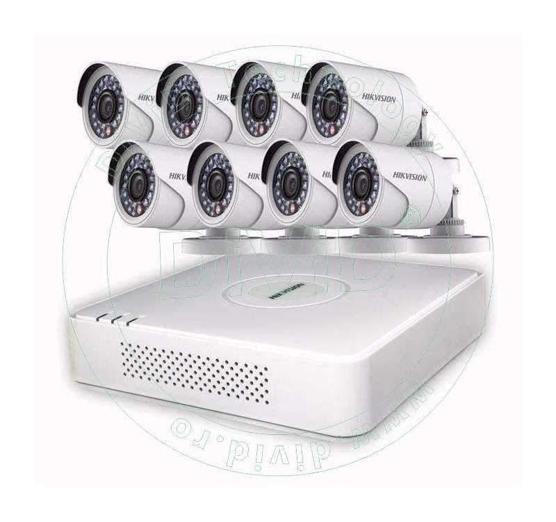 Sistem supraveghere 8 camere exterior Hikvision HD