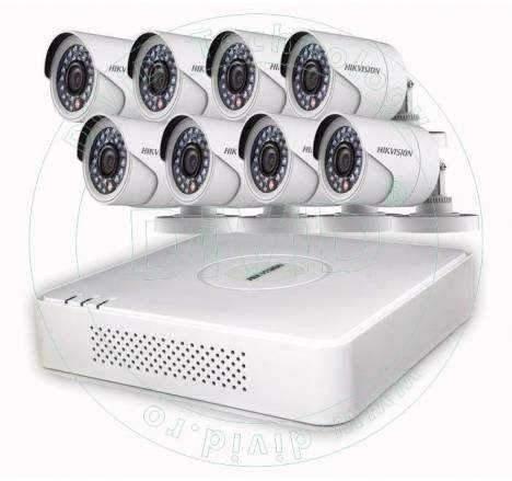 Sistem supraveghere Hikvision 8 camere exterior HD