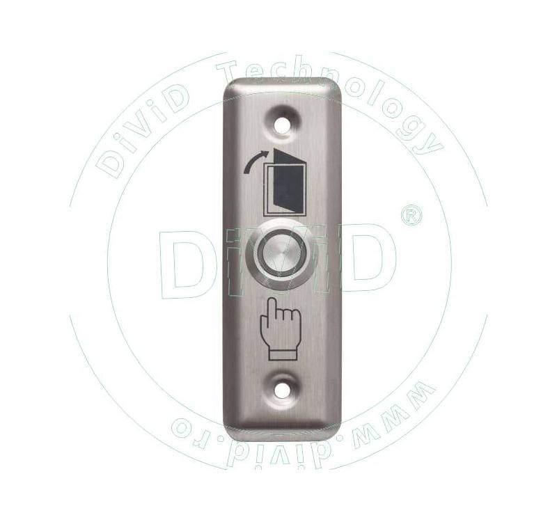 Buton de iesire cu LED, incastrabil, complet metalic ABK-801A-G/B/R