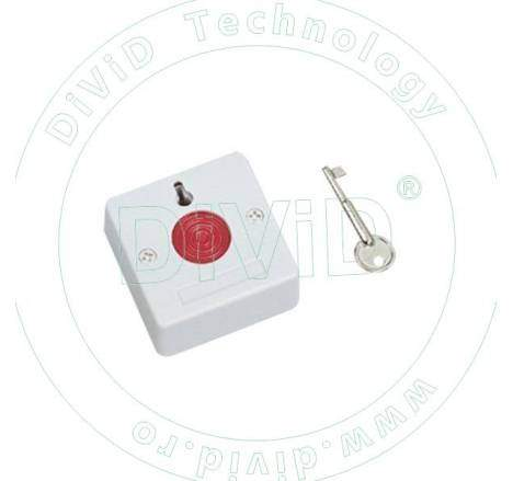 Buton de panica aplicat, din plastic, cu cheie BT-27