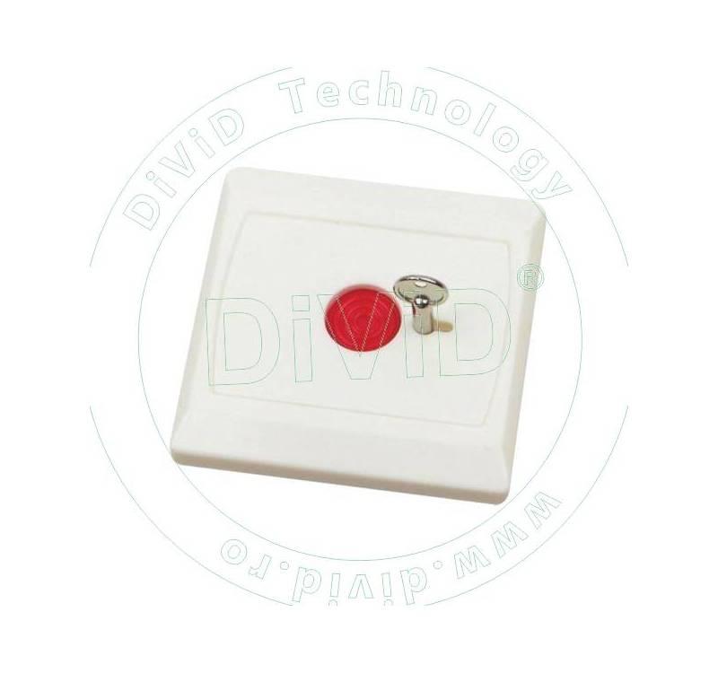 Buton de panica incastrabil, din plastic, cu cheie BT-28
